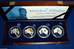 The Matthew Flinders 4 coin MAP SHAPED Silver coloured set.