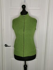 Woolovers Ladies Pure New Wool Green Sleeveless Cardigan Gilet Size Small Zip Up