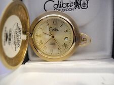 Pocket Watch W/ Date New Reduced Colibri Swiss Ultra Thin Goldtone Gold Face