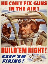 """1940s """"Build 'Em Right!"""" WWII Historic War Poster - 18x24"""