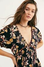 Free People On The Edge Romper V Neck Printed Tie knot Puffed Sleeve Dress M New
