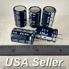 (Lot of 5) 330uF 35V ELNA Low-ESR High-End Radial Capacitors - Fast USA Shipping