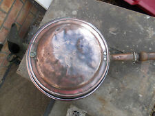 OLD ANTIQUE VICTORIAN COPPER BED WARMER PATTERNED WOODEN TURNED HANDLE