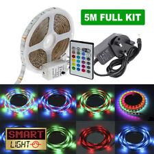 5 M 60 LED RGB SMD Nastro Luce Striscia 12 V + TELECOMANDO + KIT ADATTATORE Festa A Casa