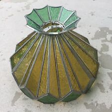 Vintage Leaded Glass Hanging Light, Stained Glass, Green and Yellow