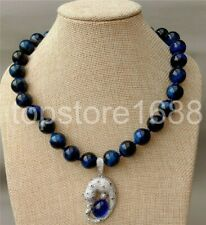 """natural Round 14mm Blue Tiger Eye Necklace CZ Pendant 18"""""""