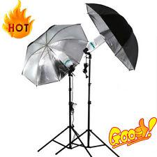 83cm Studio Flash Light Grained Black Silver Umbrella Reflective Reflector OE