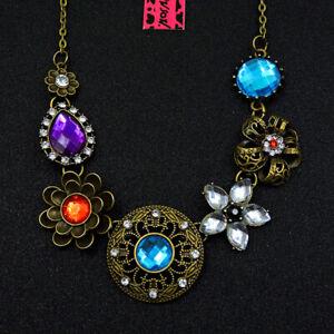 Hot Betsey Johnson Rhinestone Vintage Delicate Bronze Flower Necklace