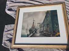 John Hare Marine Watercolor,Ships,Whart,New England,Fishing,