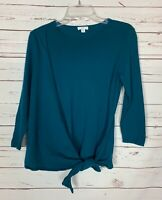 J.Jill Women's Petite Small PS Teal Cotton Blend Cute Soft Spring Sweater Top