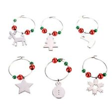 Set of 6 Christmas Wine Glass Charms Pendant Drink Markers