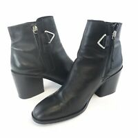 TopShop 42 / UK8 Ladies Black Leather Ankle Zip Up Block Heels Booties Boots