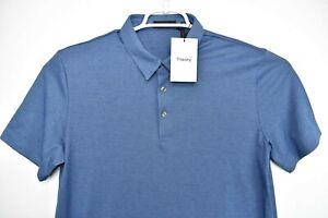 NEW Theory Men's Bron B Atlas Pique S/S Mid Blue Multi Polo Size L $125