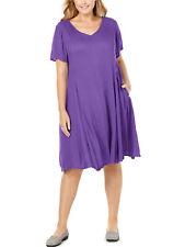 Nuevo Mujer dentro de manga corta púrpura a la rodilla Arruga vestido más tamaño 26