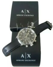 NWT Armani Exchange Mens Watch Silver SS Case & Black Leather 50 MM. AX1371 $190