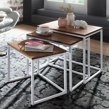 FineBuy Tables gigogne Bois Massif Table d'appoint Lot de 3 Table Basse Ensemble