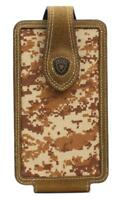 Ariat Cell Phone Large Case Holder Leather Logo Brown Camo  A0600844