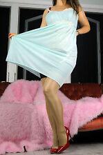 VTG Kayser Butter Soft Blue Nylon Fancy Ivory Lace Nightgown Nightie Slip sz L