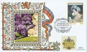 GUYANA 2012 QUEEN MOTHER 10th ANNIVERSARY OF HER DEATH BENHAM LE COVER PANSIES