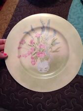 Vintage  plate, hand painted, floral design, signed