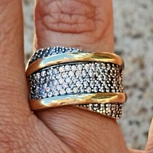 Sterling Silver and  Gold Ring Megan Style Ring ,SAME DAY SHIPPING !!!
