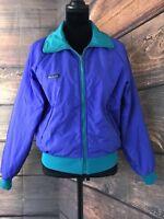 Women's VTG Columbia Reversible Thinsulate 3M Puffer Nylon Jacket L Purple Cyan