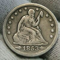 1853-O Seated Liberty Quarter 25 Cents Semi-Key Date Free Shipping (9948)