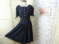 vintage polkadot tea dress viscose fit & flare 40s style governess size  S  D667