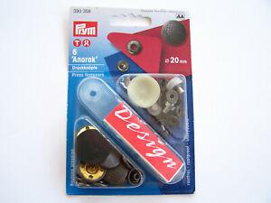6 Druckknopf nähfrei Anorak Design mittlere Schlusskraft Ø20mm altsilber 390 358