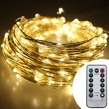 Remote Battery 10M 100 LED Copper Wire Fairy String Outdoor Xmas Garden Light