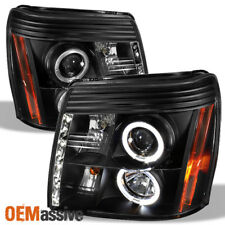 Fits 2002-06 Cadillac Escalade Halo Projector Black Headlights W/Daytime DRL LED