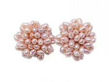 Beaufitul 4x5mm Pink Rice-shaped Cultured Freshwater Pearl Clip-on Earrings