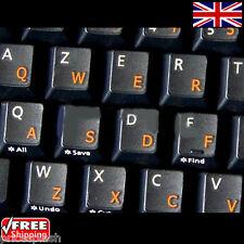 English UK Transparente pegatinas teclado con Naranja Cartas Para Computadora