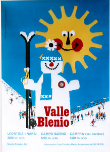 Original vintage poster VAL BLENIO SUNNY SWISS SKIING 1978