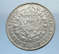 1939 Sweden GUSTAF V Silver Krona Crowned ARMS Antique Vintage Coin i69891