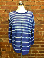 East Linen Blue White Tunic Jumper Stripe Size XS 6-8 Boho Summer Holiday Casual