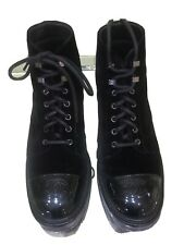 Chanel Classic Black Authentic Lace Up Booties Velvet With Leather Newstyle1689$