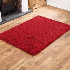 Medium Modern 5cm High Pile Very Thick Luxurious Non Shed Red Shaggy Rugs Carpet