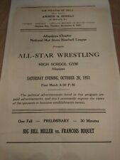 Buddy Rogers Nature Boy WWWF Wrestling program 1951 NWA Silverstein Miller Pasha