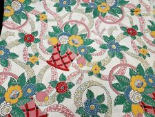 Best Vintage Feedsack Quilt Fabric 40s Cheater Red Pink Wwii Flour Full Sack