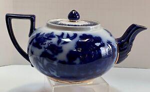 Antique Flow Blue Willow Tea Pot Doulton's England c. 1890