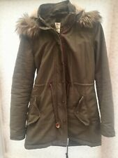 Ladies FAT FACE Parka Size 8 Dark Green/Brown