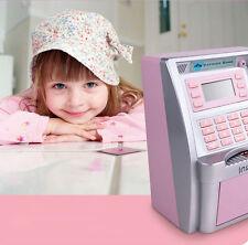 ATM Savings Bank - Black/Pink Silver for Coins & Bills Child Saving Money Box