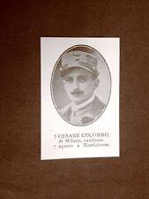 WW1 Prima guerra mondiale 1914-1918 Caduto Cesare Colombo di Milano