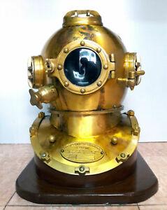 Antique Diving Helmet with Base ~ US Navy Mark V Deep Sea Divers Helmet ~Replica
