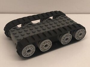 Lego Tank Tread Base: custom built, rubber wheel tracks, starter kit, army hub