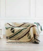 King Blanket Large Chunky Wool Yarn Throw Hand Woven Plaid Warm Sofa Bed Cover