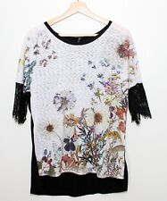 Edista Black Floral Blouse Casual Top Nordstrom Medium Made in USA Laced sleeves