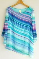 Chico's Women's 2/Large Colorful Asymmetrical Kimono Sleeve Lined Top Gorgeous!