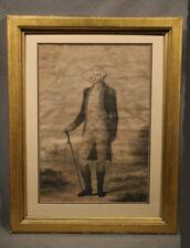 George Washington Standing American Antique Engraving
